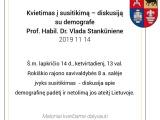 Kviečiame į susitikimą – diskusiją su demografe Prof. Habil. Dr. Vlada Stankūniene